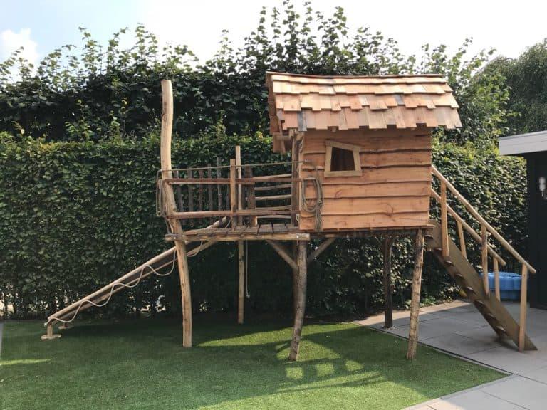 Stelzenhaus Kinder selbst bauen Holz Spielhaus