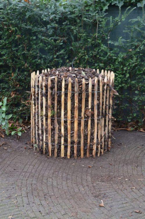 Et kastanjehegn omkring en kompostbunke