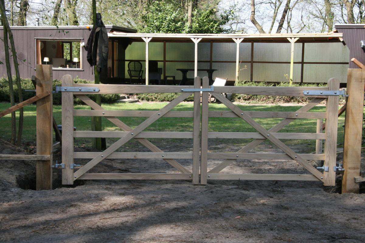 Engelse veldpoort dubbel eiken 2 x 120 breed