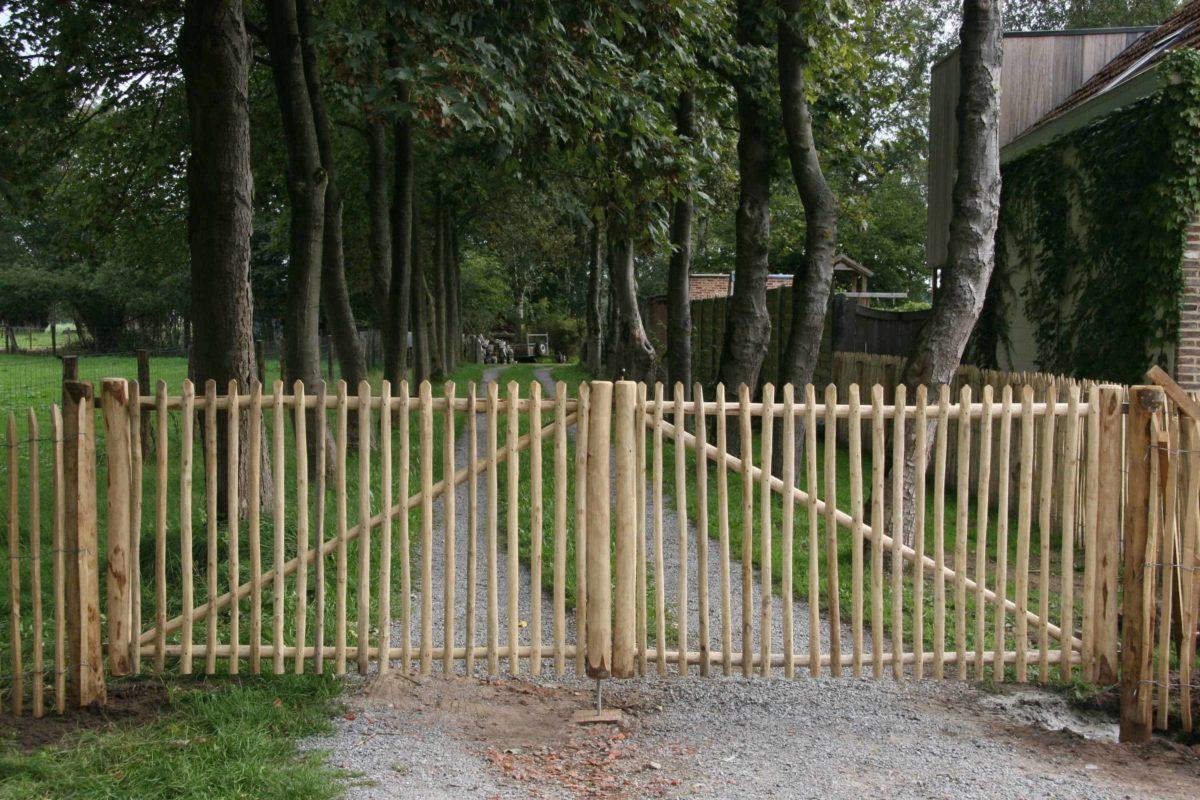 Double portail français en rondins 120 cm de hauteur