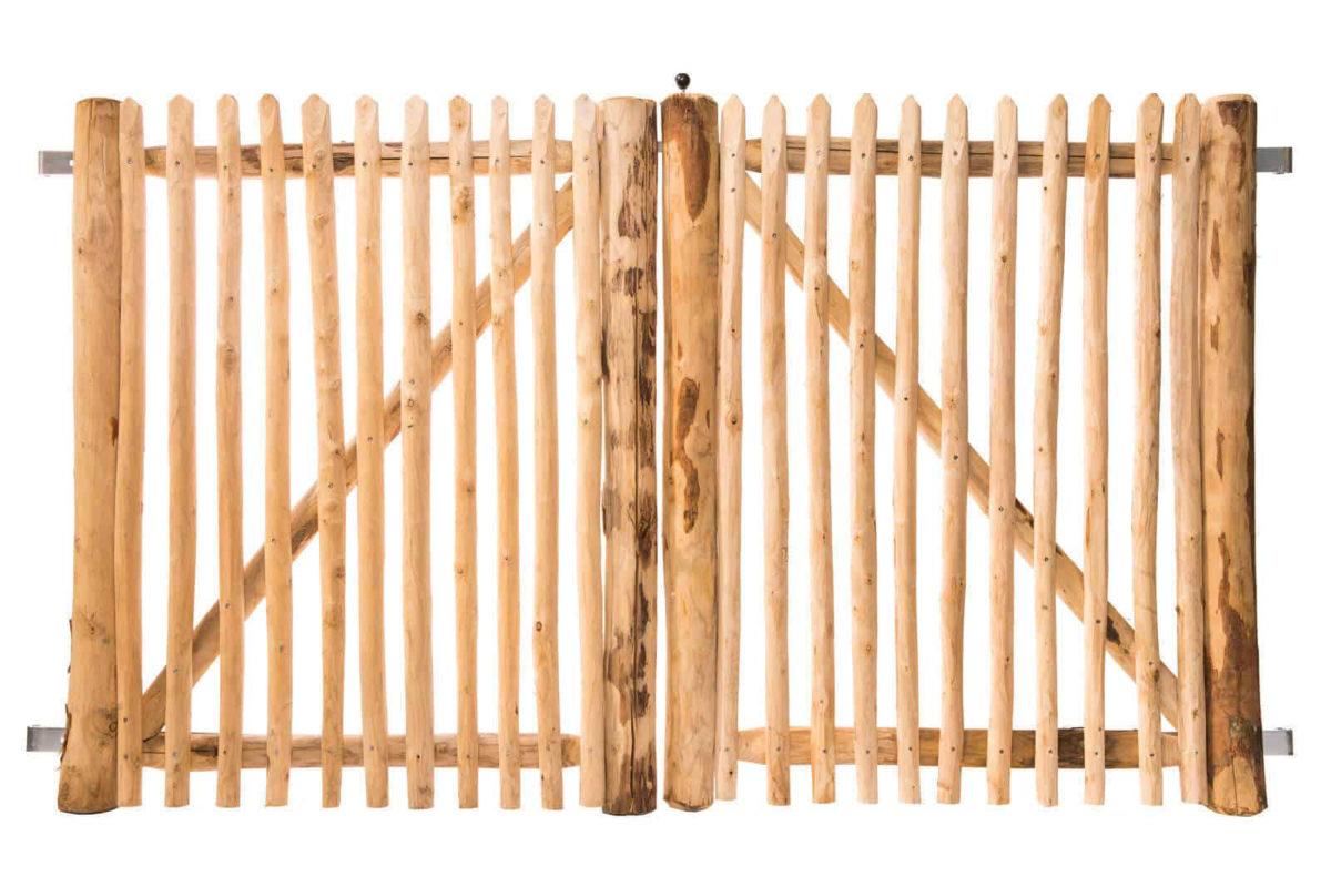 Portail français en rondins double battant 120 cm