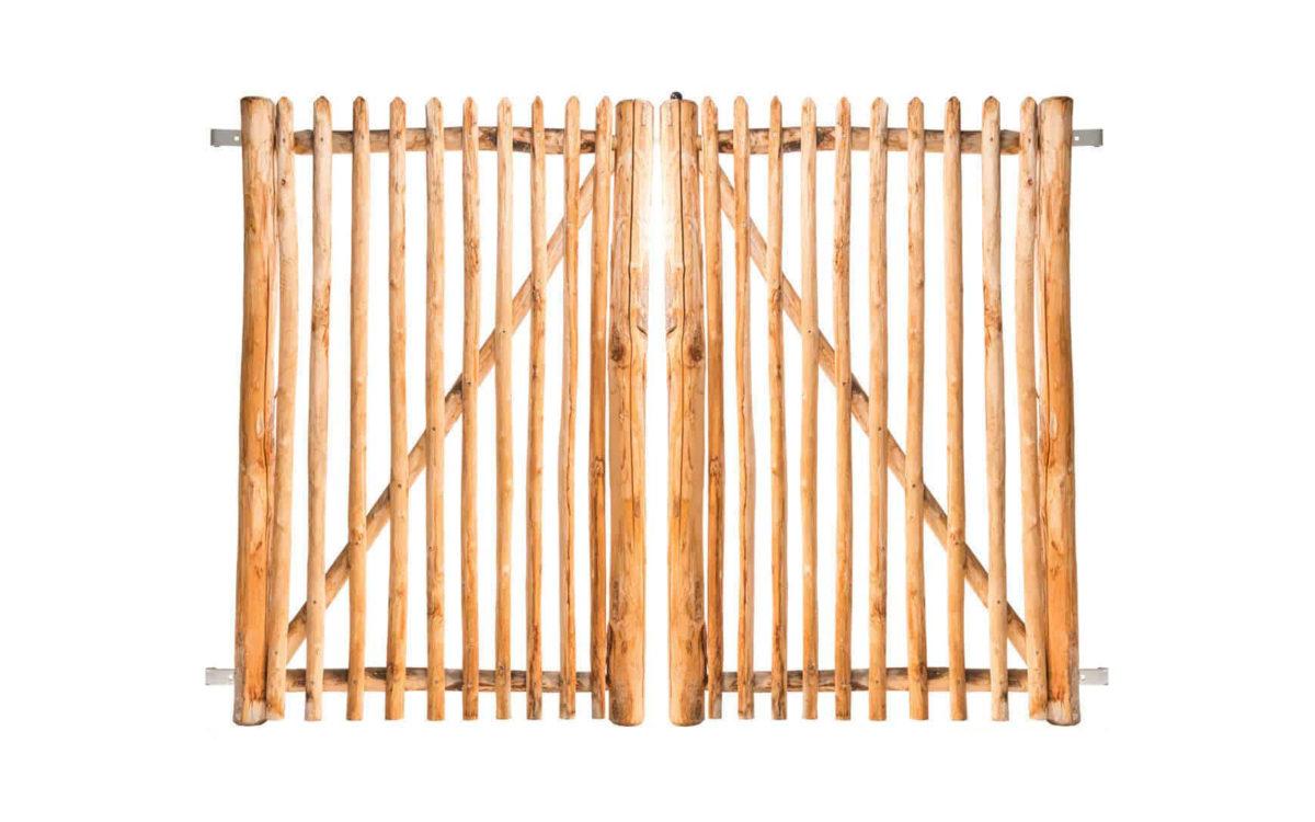 Double portail français en rondins 175 cm de hauteur