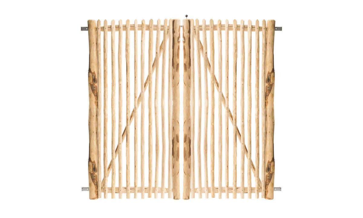 Double portail français en rondins 200 cm de hauteur