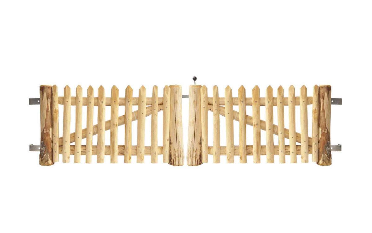 Double portail français en rondins 50 cm de hauteur